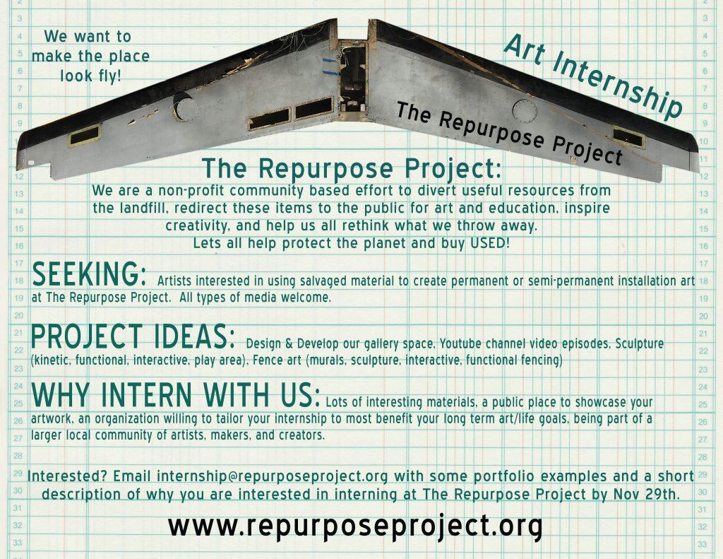 Art Internship – thrift store, salvage store, reuse big box