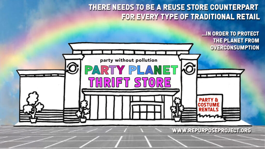 climate change solution nobody is talking about.  Party Supply reuse store is one example of a reuse store option that doesn't exist most places but needs to.  We need a circular economy of used goods that compares in size to traditional retail in order to build zero waste communities protect our planet from overconsumption and keep the valuable resources circling in our communities.  Building circular cities will build resilient cities.